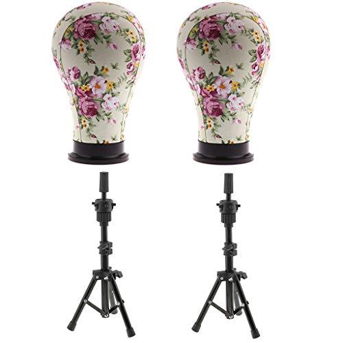 B Blesiya 2pcs Segeltuch Schaufensterpuppe Dekokopf Perückenständer Perückenhalter Hutständer Mannequin Kopf mit Tisch Klemme