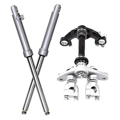 WPHMOTO Front Forks Suspension Shocks with Triple Tree Handlebar Riser Clamp Set for CRF50 70cc 90cc 110cc Dirt Bike Drum Brake