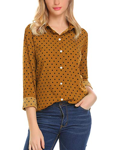 Features: Button Down, Long Sleeve, Collared, Soft Chiffon Materal, Plain&Polka Dot Pattern Occasion: nice button up shirts suitable for business, uniform, vacation, school, party, office, work or just casual everyday wear. Pair well with hip skirt a...