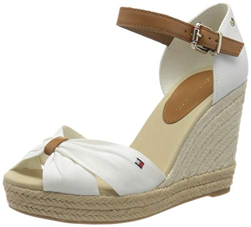 Tommy Hilfiger Damen Basic Opened Toe HIGH Wedge Peeptoe Sandalen, Weiß (Ivory Ybi), 40 EU