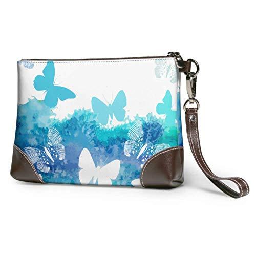 Corner Time Small Artificial Flowers Bolso de mano de cuero con mariposas azules, cartera de mano para mujer, bolso de mano para teléfono inteligente