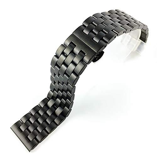 WNFYES Pulseras de Las Mujeres de Acero Inoxidable sólido de Metal Correa de Pulsera Correa de Reloj de los Hombres y Las Relojes Correas (Band Color : Negro, Band Width : 24mm)