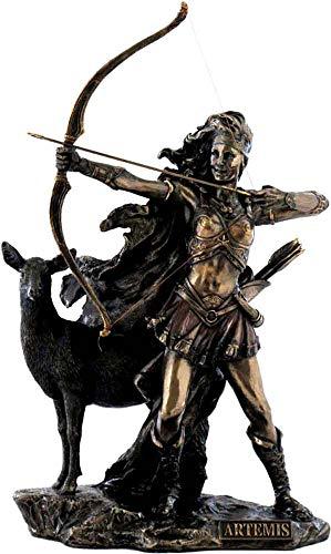Griechische/Römische Göttin Artemis/Diana Jäger mit Bogen und Hirsch (Dekorative Bronzestatue, Figur, Skulptur 31cm)