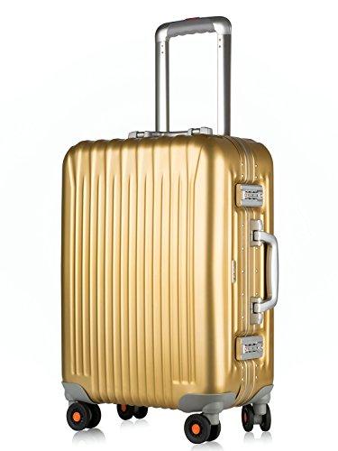 All Aluminum Carry On, HardShell Luggage Grade 5 Aluminum-Magnesium Alloy Spinner Suitcase TSA Approved 20', Gold