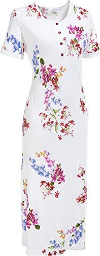 Hutschreuther Damen-Nachthemd Single-Jersey weiß/Fuchsia Größe 50