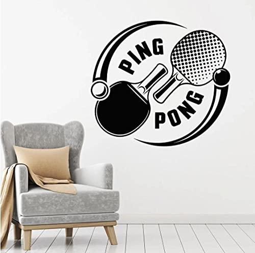 Ping-pong pared decoración deportes raqueta tenis juegos olímpicos juegos puerta ventana vinilo pegatinas adolescentes dormitorio arte decoración de la decoración mural 42x46 cm