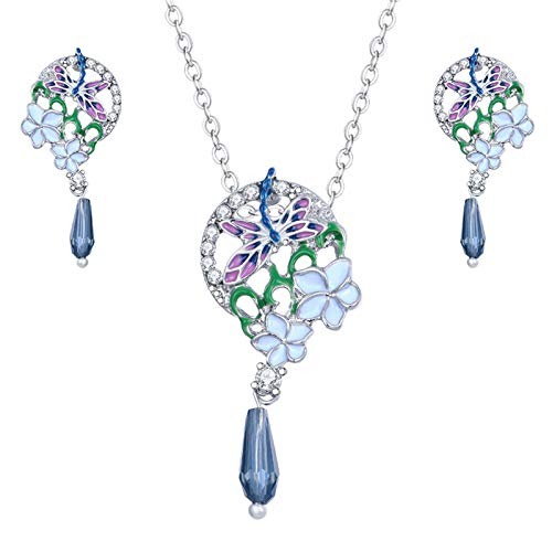 jessboyy Moda Ocio Petal Plating Aleación Colgante Butterfly Lady Earring Collar Set