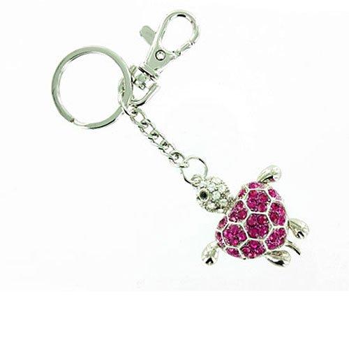 Schlüsselanhänger / Handtaschenanhänger Schildkröte Rosa auf versilbert