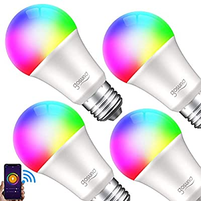 Smart Light Bulb Gosund LED RGB Color Changing Bulbs That Compatible with Alexa Google Home, E26 A19 8W Multicolor Lights Bulb, No Hub Required, 2.4GHz Only, 4 Pack