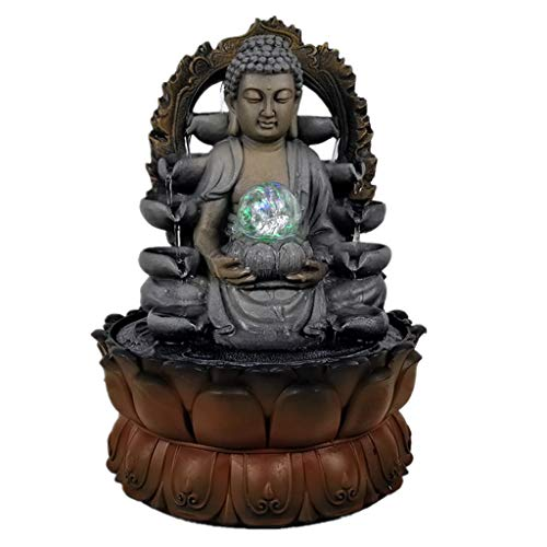 Indoor Fountains Tabletop Fountains Resin Water Fountains Feng Shui Wheel with LED Light Home Office Tabletop Water Fountain Figurines Decoration Home Décor Tabletop Indoor Fountain (Color : B)