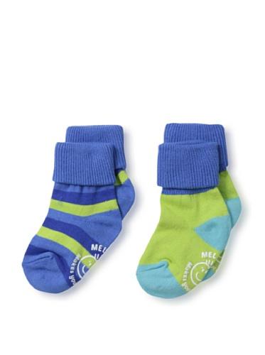 Melton 2er Pack baby multistripe socks Blau, 17-19, Blau