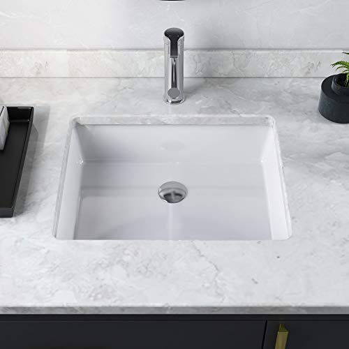 DeerValley DV-1U201 Rectangular Undermount Bathroom Sink, Modern Vessel Sink White Undermount Bathroom Sink Rectrangle Porcelain Ceramic Lavatory Vanity Vessel Sink with Overflow