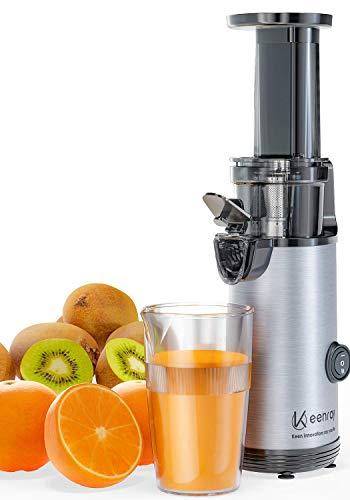 Slow Juicer, Keenray Kaltpresse Entsafter Extraktor, Entsafter Gemüse und Obst mit Ruhiger Motor, Leicht zu Reinigen, Rückwärtsfunktion, Für Obst & Gemüse