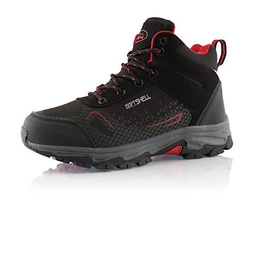 Fusskleidung® Damen Herren Wanderschuhe Wasserabweisend Trekking leichte Outdoor Boots Schwarz Rot EU 40