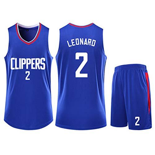 Herren Basketball Uniform Kawhi Leonard #2 Los Angeles Clippers Jersey High Performance Soft Athletic Training Anzüge High School Youth Sets Running Lightweight Gym 4XS-5XL Weiß Schwarz Gr. XL, blau