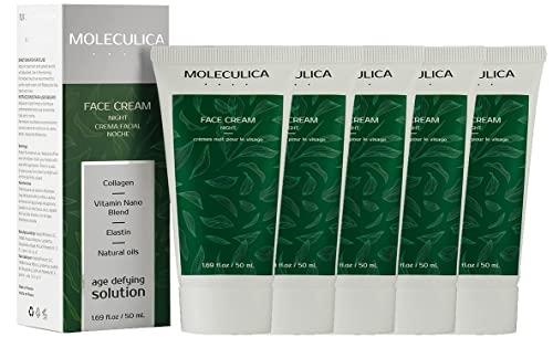 Moleculica Crema Facial de Noche | Mejor Hidratante de Cara de Fórmula Natural con Colágeno, Elastina y Aceites Naturales | Crema Reafirmante para Suavizar Arrugas y Líneas de Expresión 5 Pack