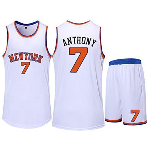 ATI-HSKJ Carmelo Anthony Herren Basketball Trikots Basketball Tops Westen Schnelltrocknendes Ärmelloses Trikot New York 7# Sportuniform Weiß BH667,3XL:180CM~185CM