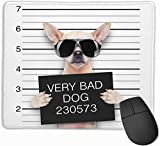 Whecom Tappetino Mouse Gaming, Creative Dogs Funny Chihuahua Glasse Funny Mouse Pad with S...