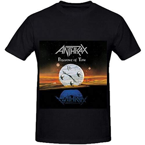 LONGXU Anthrax Persistence of Time Pop Album Cover Men Crew Neck Printed T Shirt Black S