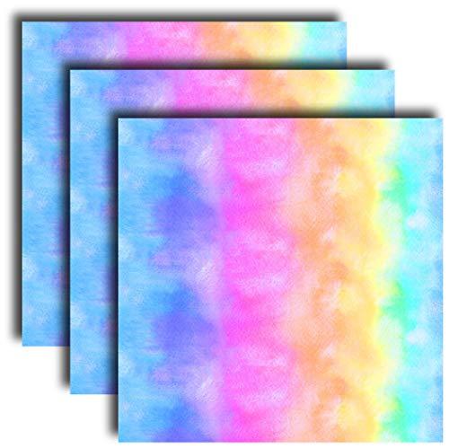 Siser EasyPSV Patterns 12' x 12' Sheets (3 Pack) - Self Adhesive Permanent Craft Vinyl (Watercolor Rainbow)
