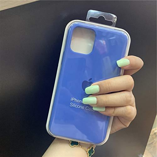 SMZNXF Carcasa de telefono,Funda Oficial de Silicona con Logotipo para iPhone 7 8 6SPlus 11 Pro X XS MAX XR 5 5S Funda para teléfono para iPhone 7 8 Plus X 10 Cubierta, 11 Azul Lago, para iPhone
