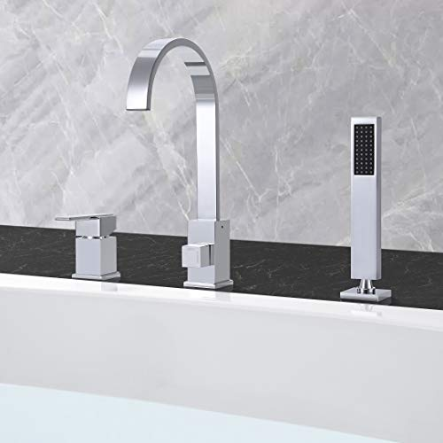 JinYuZe New Roman 4-Hole Tub Filler Faucet with Handheld Shower Hot//Cold Water Widespread Tub Faucet,Chrome
