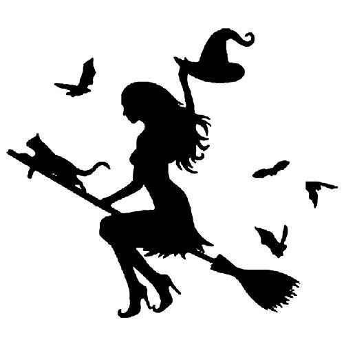 Dandeliondeme Hexe auf fliegenden Besen Auto Aufkleber Stoßstange Fenster Laptop Halloween DIY für Notebook Skateboard Snowboard Gepäck MacBook Fahrrad Stoßstange Schwarz