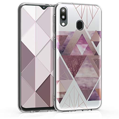 kwmobile Hülle kompatibel mit Samsung Galaxy M20 (2019) - Hülle Handy - Handyhülle Glory Dreieck Muster Rosa Rosegold Weiß