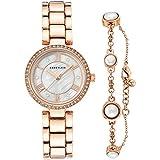 Anne Klein Women's Swarovski Crystal Accented Rose Gold-Tone Watch and Bracelet Set, AK/3748RGST