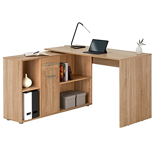 IDIMEX Schreibtisch Carmen Eckschreibtisch in Sonoma Eiche Winkelschreibtisch mit Regal Schreibtisch...