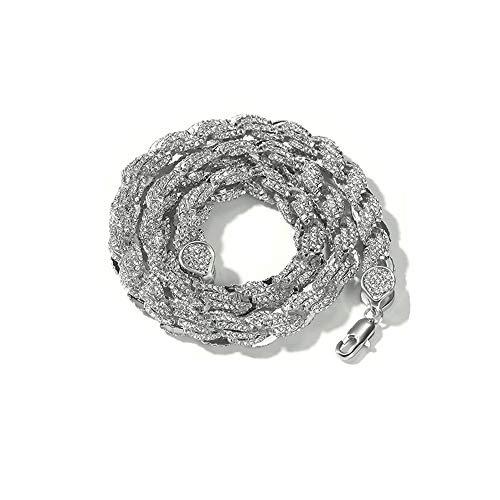enheng Iced Out Rope Chain Halskette Hip Hop Diamond Halskette Gold Choker mit Einstellung Strass Punk Style Halskette für Männer
