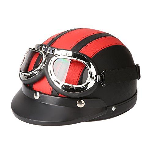 KKmoon Motorrad Roller Open Face halbes Leder-Helm Winter Winddichter Helm mit Visier UVschutzbrille Retro Vintage Style 54-60cm (Rot)