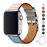 WFEAGL コンパチブル Apple Watch バンド,は本革レザーを使い、iWatch Series 5/4/3/2/1、Sport、Edition向けのバンド交換ストラップです コンパチブル アップルウォッチ バンド (42mm 44mm, 薄い青/象牙の白+シルバー 四角い バックル)