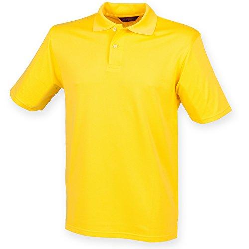 Henbury Mens Coolplus Pique Polo Shirt (3XL) (Yellow)