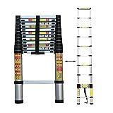 MHBGX Outdoor Household Ladder,Heavy-Duty Aluminum Extendable Ladder for Home Loft Office, Multi-Purpose Telescopic Ladder Non-Slip,2.9M/9.5Ft,2.9M/9.5Ft