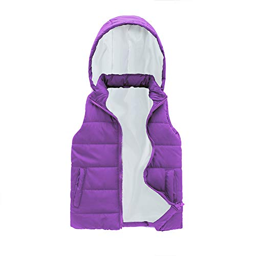 SNOW DREAMS Girls Puffer Vest Hooded Sleeveless Spring Fall Quilted Outwear Coat Zipper Waistcoat Light Purple Size 4