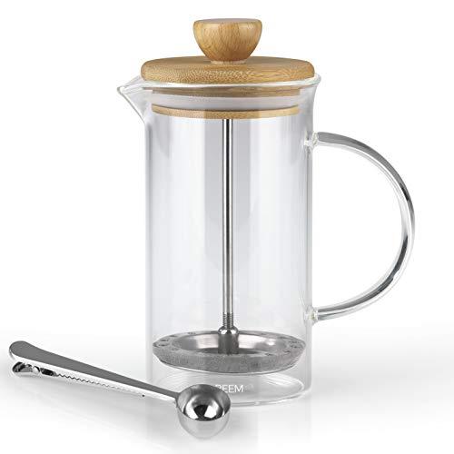 BEEM Coffee Press Kaffeebereiter - 0,35 l oder 1 L wählbar | 2-3 & 8 Tassen | French Press | Bambus | Kaffeepresse | Glaskanne mit Bambusdeckel | Edelstahlfilter (0,35 Liter)