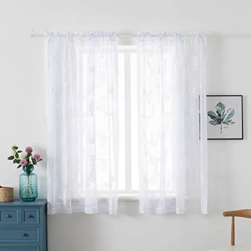 HuiXiu Geometric Trellis Pattern Lace Curtains Rod Pocket 56 x 63 inch Length, Set of 2 White Curtain Panels,Window Voile Drapes for Bedroom