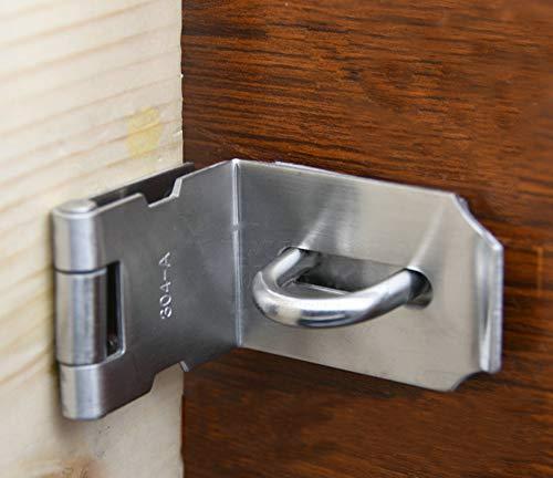 DINGCHI Zware hangslot Hasp Duty, deur Hasp latch 90 graden, roestvrij staal veiligheidshengel vergrendelingsteek voor schuiven/schaaven/barn door, plus dik satijn nikkel
