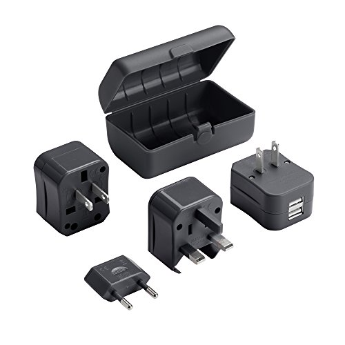 Lewis N. Clark Adapter Plug Kit W/ 2.1a Dual USB Charger, Black, One Size