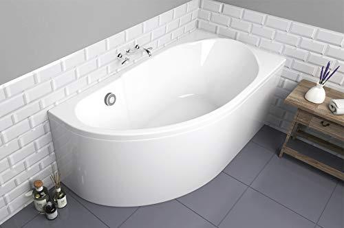ECOLAM Badewanne Eckbadewanne Acryl Miki weiß 140x70 cm RECHTS + Schürze Ablaufgarnitur Ab- und Überlauf Automatik Füße Silikon Komplett-Set