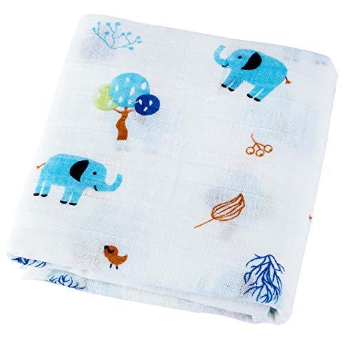 KEREDA Baby Musselin Swaddle Decke Tücher, Baumwolle Baby Pucktücher, Weiche Aufstoßen Tuch & Kinderwagen Decke für Junge und Mädchen - 120X120 cm
