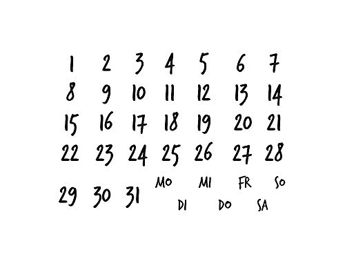 Stempel Clear von EFCO, Kalender 5, A7 / 74 x 105 mm, 11 - teilig, transparent