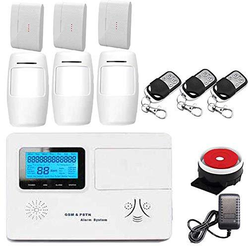 BUG-L Alarma Antirrobos Inalámbrica gsm/PSTN, Equipo Sistema Alarma Antirrobo Doméstica, Control Remoto, Sensor Puerta, Detector Infrarrojos, Pantalla LCD