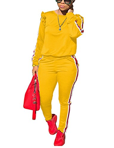 Two Piece Yellow Outfits for Women Ruffle Sleeve Sweatshirt and Pants Sweatsuits Set Tracksuits M