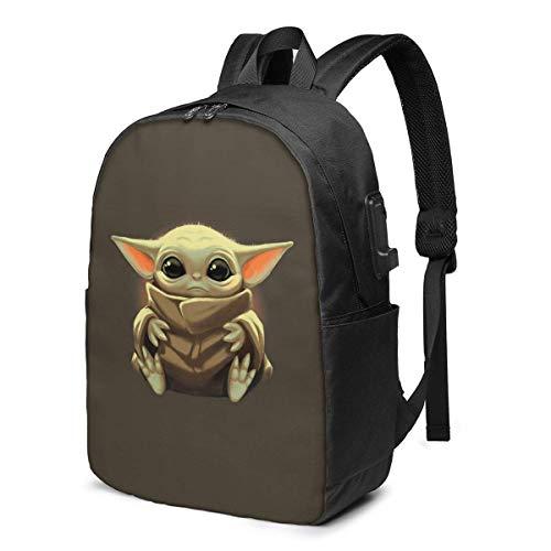 Hdadwy Child_Baby_Yoda 17in Rucksack Schulter Laptop-Tasche mit USB-Kopfhörer Ladeanschluss Bookbag für Schulreisen