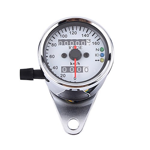 Qiilu Universal Indicador de velocímetro del odómetro de la motocicleta Indicador dual de pantalla digital KM/H(plata)
