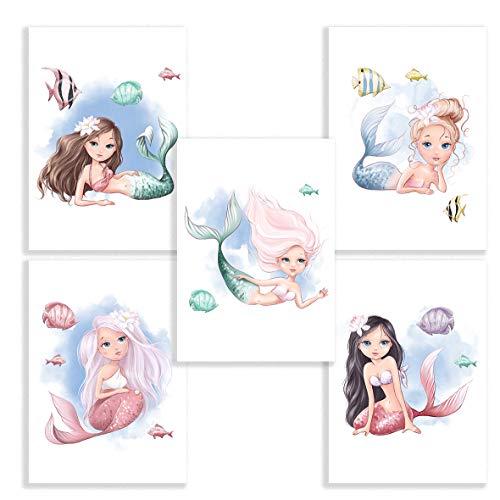 Klasse 5er Set Bilder Meerjungfrau Unterwasser Dekobilder Jugendzimmer Kinderzimmer Babyzimmer Mädchen Bilderset Poster DIN A4 Dekoration Meer Meerjungfrauen Mermaid (ohne Rahmen)
