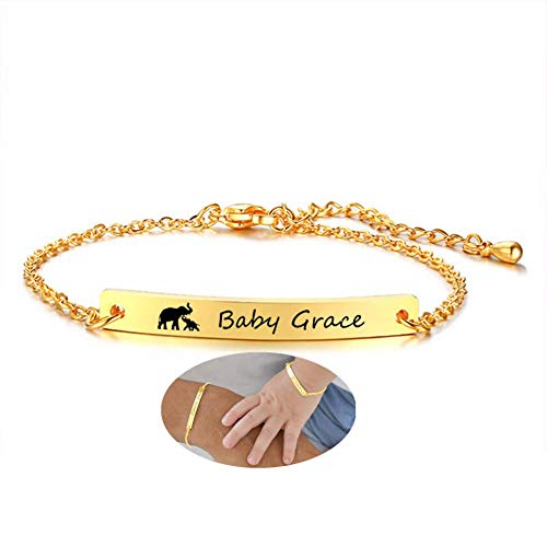 Personalized Custom Baby Name Bracelet 18K Gold Plated Stainless Steel ID Plate Bracelets for Girls Boys Birthday First Communion Baptism Gifts to Newborn Child Jewelry