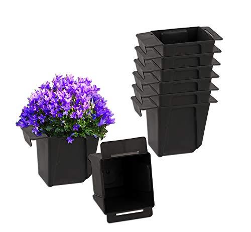 BigDean 8X Pflanzkasten Palette Anthrazit Mini Kunststoff Paletten Blumenkasten Pflanzkübel Palettenkasten Palettenpflanzkasten
